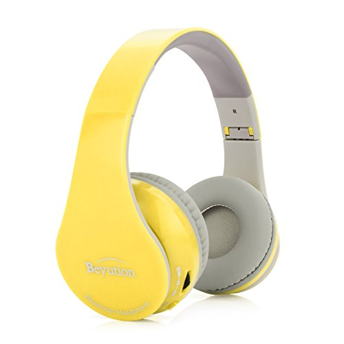 New Black/Red/White/Blue/Yellow/Pink More Color Bluetooth Headphones -Wireless-Over-Ear- HiFi Stereo- Built in Mic-Phone with Retail Package (Yellow)