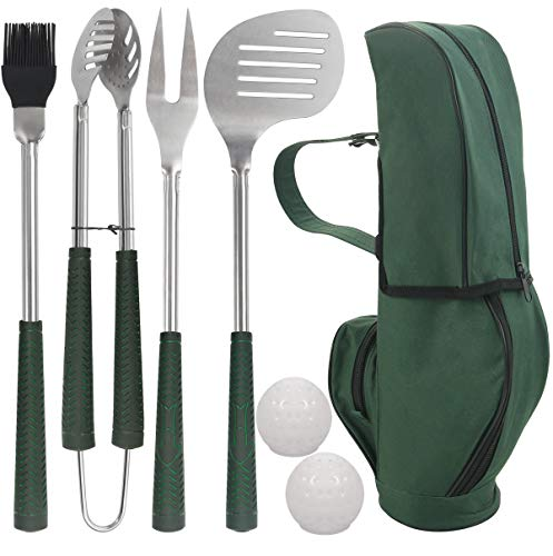 POLIGO 7pcs Golf-Club Style BBQ Grill Tool Set with Rubber Handle - Stainless Steel BBQ Accessories in Golf-Club Style Bag - Complete Barbecue Grilling Utensils Set - Birthday Gift for Men