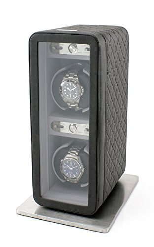 Heiden Monaco Double Watch Winder in Black Leather - Battery Powered or AC Adapter