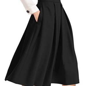 Yige Women's High Waist Flared Skirt Pleated Midi Skirt with Pocket 24 Fashion Online Shop gifts for her gifts for him womens full figure