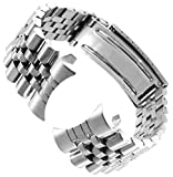 20mm Men's Curved End Classic Stainless Steel Watchband Replacement