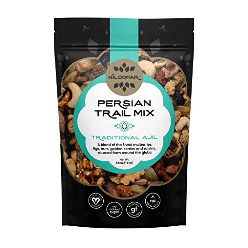 Niloofar Persian Trail Mix | Organic, Gluten Free, Certified Vegan Persian Snacks Superfood | With Mulberries, Figs, Almonds, Golden Berries, Other Organic Ingredients | Traditional Ajil - 1 Bag