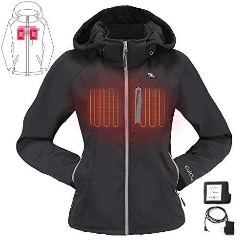 COLCHAM Heated Jacket for Women with Detachable Hood and Battery Pack Waterproof and Windproof L Black