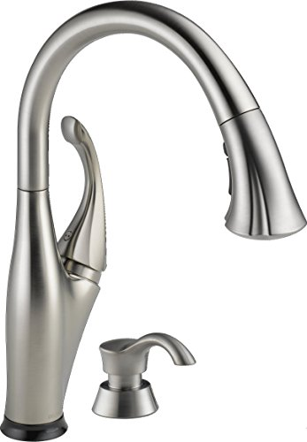 Delta Faucet Addison Single-Handle Touch Kitchen Sink Faucet with Pull Down Sprayer, Soap Dispenser, Touch2O Technology and Magnetic Docking Spray Head, Stainless 9192T-SSSD-DST