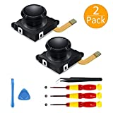 [New Version] 2 Pack 3D Replacement Joystick Analog Thumb Stick for Nintendo Switch Joy-Con Controller - Include Tri-Wing & Screwdriver Tool