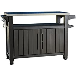 Indoor Outdoor Entertainment BBQ Storage Table / Prep Station / Serving Cart with Metal Top