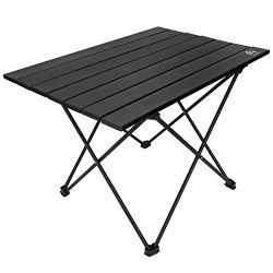 BERSERKER OUTDOOR Portable Camping Table Lightweight Folding Aluminum Table Compact Roll Up Table Top with Carry Bag,Easy to Set Up and Clean, Perfect for Outdoor, Home Use(Small and Medium Two Size)