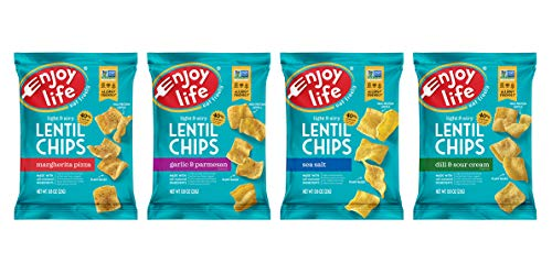 Enjoy Life Lentil Chips, Soy free, Nut free, Gluten free, Dairy free, Non GMO, Vegan, Variety Pack, 0.80 Ounce Bags (Pack of 24)