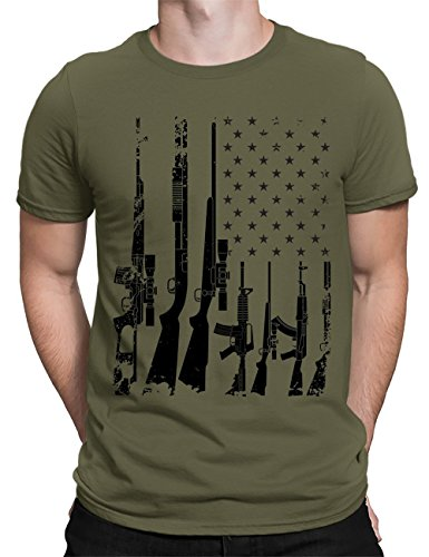 55d8c0013 ... ENVMENST Mens T Shirt, Distressed Graphic Guns and American Flag Tee  (Army, M