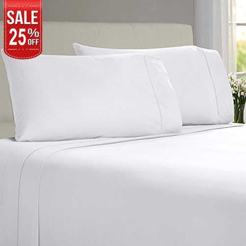 Linenwalas Todays Deal Bamboo Sheets – 100% Organic Softest Moisture Wicking Deep Pocket Bedding | Silk Like Soft, Wrinkle Free Cooling Luxury Hotel Bed Sheet Set (Queen Size, White)