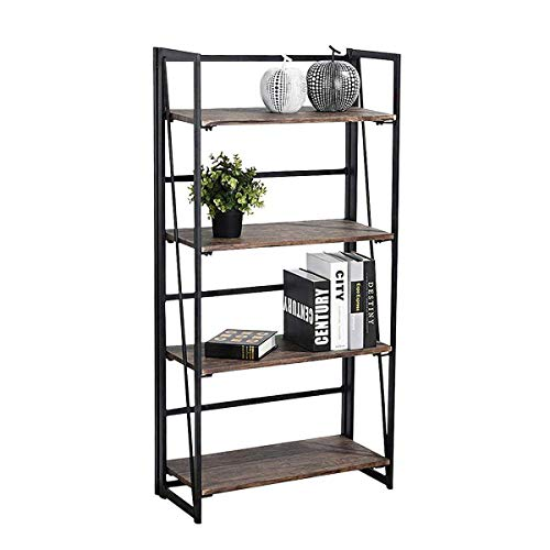 Coavas Folding Bookshelf Rack 4-Tiers Bookcase Home Office Shelf Storage Rack No-Assembly Industrial Stand Sturdy Shelf Organizer