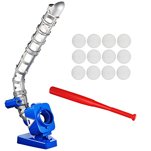 Sport Games Baseball Pitching Machine for Youth, Height Adjustable Electronic Slow Pitch Toy w/Bat and 12 Balls, for Boys and Girls | T-Ball and Softball | Fun Practice Catching, Hitting, Batting