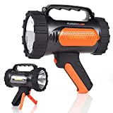 Rugged Camp Titan X10 Rechargeable Spotlight - 1000 Lumens - High Powered 10W LED Bright Flashlight - Work Light & Tripod - Perfect for Camping, Hiking, Hunting, Emergencies & Outdoors (Black/Orange)