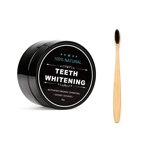 Teeth Whitening Charcoal Powder, Natural Activated Charcoal Teeth Whitener Powder with Bamboo Brush Oral Care Set (1.05 oz) 3