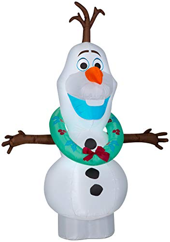 Gemmy 5.5FT Tall Inflatable Olaf w/Wreath Decoration