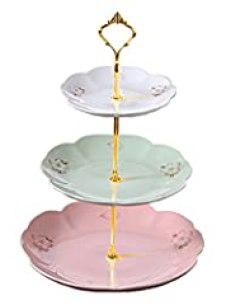Jusalpha 3-tier Porcelain Cake Stand-Dessert Stand-Cupcake Stand-Tea Party Serving Platter CB-(3 Color Stand, Gold Handle)