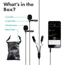 Movo-Professional-Lavalier-Lapel-Clip-on-Interview-Podcast-Microphone-with-Secondary-Mic-and-Headphone-Monitoring-Input-for-iPhone-iPad-Samsung-Android-Smartphones-Tablets-Podcast-Equipment