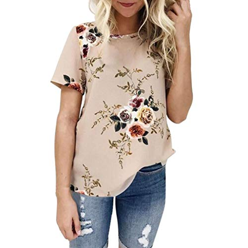 Printing Shirt,Toimoth Women Ladies Sexy Long SleeveCasual Floral Short Sleeve Tops Blouse (Khaki,XXL)