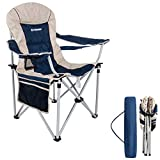 FUNDANGO Oversized Folding Camping Quad Chair Padded Arm Camp Chairs Lumbar Back Support Steel Frame Heavy Duty 350lbs with Cup Holder and Carry Bag for Heavy People