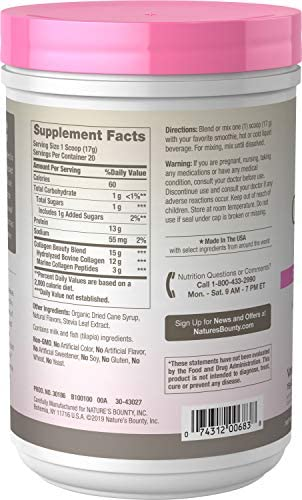 Collagen Beauty Blend by Nature's Bounty Optimal Solutions, Dietary Supplement, Supports Skin Health, Vanilla Flavor, 15g Per Serving, 20 Powder Servings 2