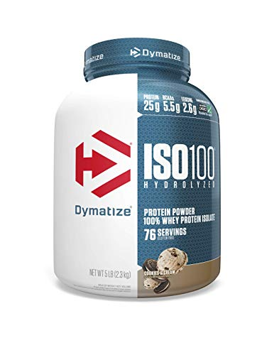 Dymatize Nutrition ISO 100 5 lbs Whey Protein Powder with Hydrolyzed 100% Whey Protein Isolate, Gluten-Free, Fast Digestion, Cookies, and Cream, 2.26 Kg