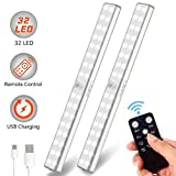 Litake Wireless Under Cabinet Lighting, Rechargeable 32 LED Under Cabinet Closet Lights with Remote, Stick-On Magnetic LED Light Strip Bar for Kitchen Closet Wardrobe (2 Pack)