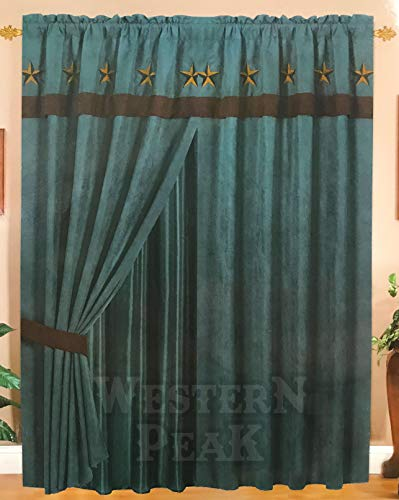 Turquoise Brown Rustic Star Curtains