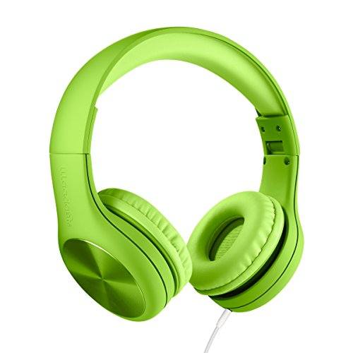 New! LilGadgets Connect+ PRO Kids Premium Volume Limited Wired Headphones with SharePort (Children) - Green