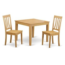 3 Pc small Kitchen Table and Chairs set -square Kitchen Table and 2 Dining Chairs