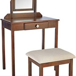 AmazonBasics Classic Compact Vanity Table Set with Stool and Mirror – Brown
