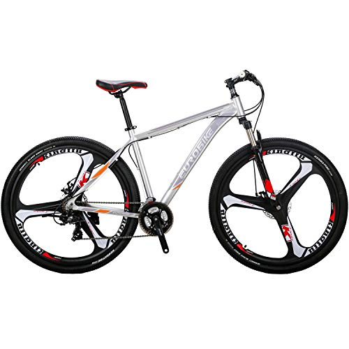 Eurobike 29' Mountain Bike Lightweight Aluminum Frame Front Suspension Daul Disc Brakes 21 Speed Mens Bicycle 29er MTB (Silvery)