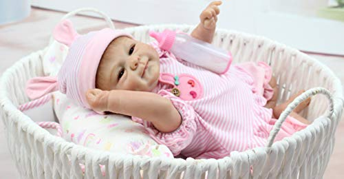 Pinky Simulation 18' 45cm Lovely Lifelike Realistic Looking Soft Vinyl Silicone Reborn Doll Baby Girl Newborn Baby Dolls Xmas Gift Birthday Present