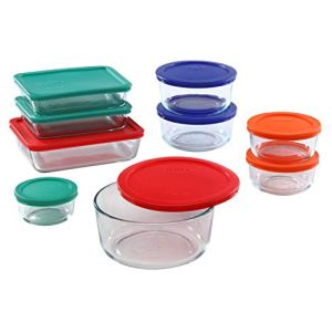 Pyrex Simply Store Meal Prep Glass Food Storage Containers (18-Piece Set, BPA Free Lids, Oven Safe),Multicolored 14