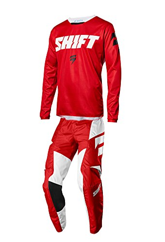 Shift Racing 2018 White Label Ninety Seven Combo Red Pants Jersey Riding Gear Dirtbike MX ATV Offroad Adult Mens