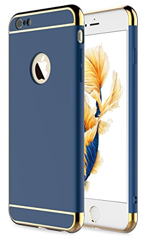 iPhone 6s Plus Case,iPhone 6 Plus Case,RORSOU 3 in 1 Ultra Thin and Slim Hard Case Coated Non Slip Matte Surface with Electroplate Frame for Apple iPhone 6/6s Plus(5.5') - Blue and Gold