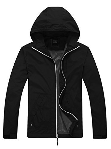 ZSHOW Men's Camping Running Jacket Packable Mountain Jacket With Air Holes Windbreaker(Black,X-Large)