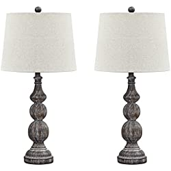 Ashley Furniture Signature Design - Mair Poly Table Lamps - Set of 2 - Timeworn Finish - Antique Black