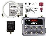 Antronix ARA8-4 8-Port Bi-Directional Cable TV, OTA, HDTV Amplifier Splitter Signal Booster with Passive Return, Coax Cable, F59 Terminators