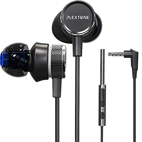 Gaming Earphones,Pasuwisma Earbuds Wired Stereo Bass in-Ear Headphones E-Sport Noise Cancelling Compatible with Mic, HiFi with Extension Cable and Adapter for PC, Laptop and Cellphones. (Black)