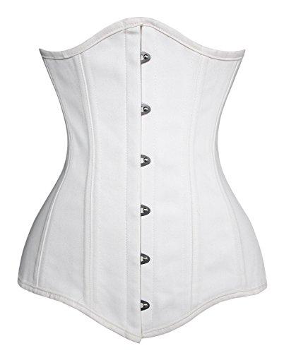 Charmian Women's 26 Steel Boned Cotton Long Torso Training Underbust Corset White XXX-Large