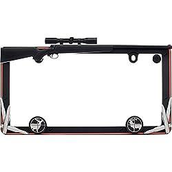 Cruiser Accessories 19656 Hunting License Plate Frame, Matte Black/Orange w/fastener cap