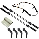2 Sets Glasses Straps Adjustable Waterproof Eyewear Glasses Retainers Sports Swimming 4 Anti-Slip Hooks No Tail for Kids Adults