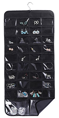 MISSLO Hanging Jewelry Organizer Rotating Hanger Dual Sides 76 Pockets Accessories Storage Holding Jewellery