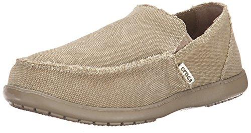 Crocs Men's Santa Cruz Loafer, Casual Comfort Slip On, Lightweight Beach or Travel Shoe, Khaki, 10 US Men