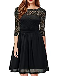 Women's Vintage Formal Floral Lace 3/4 Sleeve Cocktail Party Tube Dress