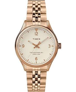 Timex Waterbury Traditional Quartz Movement Beige Dial Ladies Watch TW2T36500