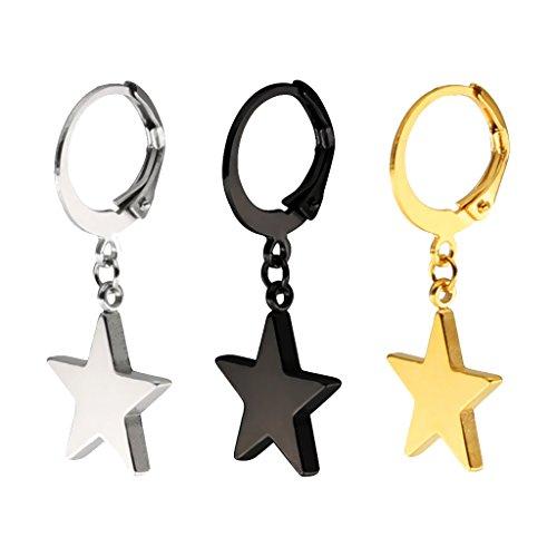 MagiDeal 3 Piezas Aretes Forma Estrella Color Oro Negro Plata Diseño Sencillo Joyería de Moda