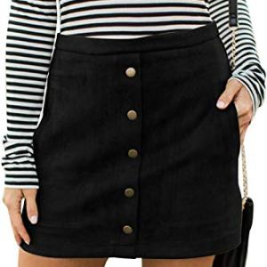Meyeeka Women's Button Front Faux Suede High Waist A-line Mini Skirt with Pocket 16 Fashion Online Shop 🆓 Gifts for her Gifts for him womens full figure