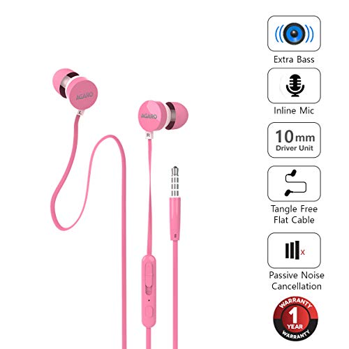 AGARO - 33235 Rejoice SH100 Extra Bass in-Ear Earphone with Mic & Passive Noise Isolation (Pink)