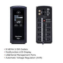 CyberPower-CP850AVRLCD-Intelligent-LCD-UPS-System-850VA510W-9-Outlets-AVR-Mini-Tower-Black